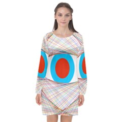 Line Art Geometric Design Line Long Sleeve Chiffon Shift Dress