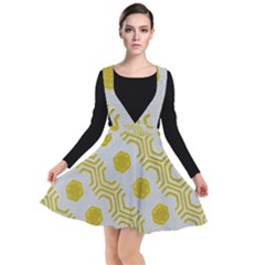 Abstract Background Hexagons Plunge Pinafore Dress