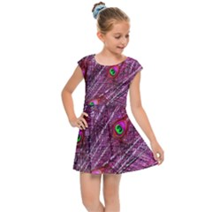 Red Peacock Feathers Color Plumage Kids  Cap Sleeve Dress by Pakrebo