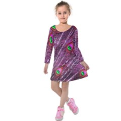 Red Peacock Feathers Color Plumage Kids  Long Sleeve Velvet Dress by Pakrebo