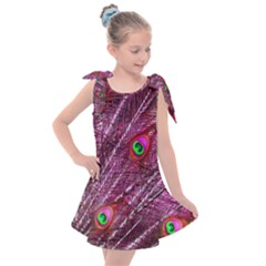 Red Peacock Feathers Color Plumage Kids  Tie Up Tunic Dress by Pakrebo