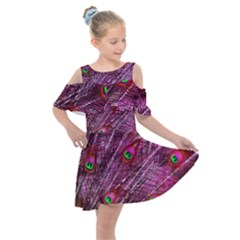 Red Peacock Feathers Color Plumage Kids  Shoulder Cutout Chiffon Dress by Pakrebo