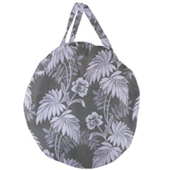 Curtain Ornament Flowers Leaf Giant Round Zipper Tote