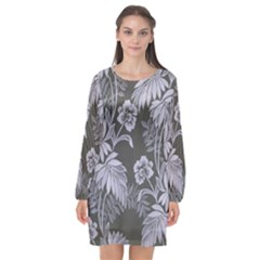 Curtain Ornament Flowers Leaf Long Sleeve Chiffon Shift Dress
