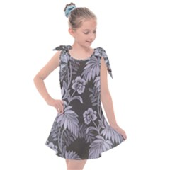 Curtain Ornament Flowers Leaf Kids  Tie Up Tunic Dress by Pakrebo