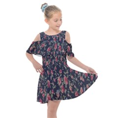 Polka Dotted Rosebuds Kids  Shoulder Cutout Chiffon Dress by retrotoomoderndesigns