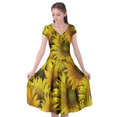 Surreal Sunflowers Cap Sleeve Wrap Front Dress