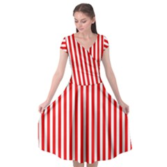 Candy Stripes Cap Sleeve Wrap Front Dress