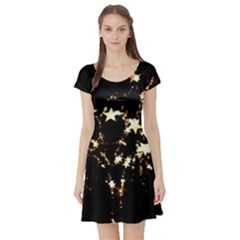 Shooting Stars Short Sleeve Skater Dress by WensdaiAddamns