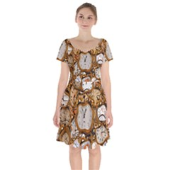 Time Clock Watches Short Sleeve Bardot Dress by Mariart