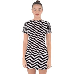 Zigzag Chevron Pattern Drop Hem Mini Chiffon Dress