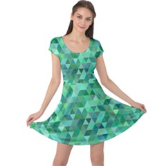 Teal Green Triangle Mosaic Cap Sleeve Dress by AnjaniArt