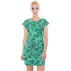 Teal Green Triangle Mosaic Cap Sleeve Bodycon Dress by AnjaniArt