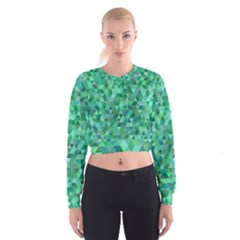 Teal Green Triangle Mosaic Cropped Sweatshirt by AnjaniArt