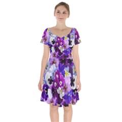 Pretty Purple Pansies Short Sleeve Bardot Dress