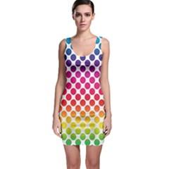 Rainbow Polka Dots Bodycon Dress by retrotoomoderndesigns