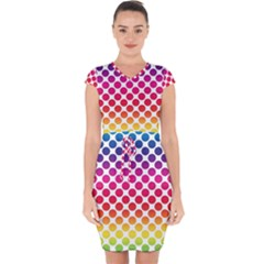 Rainbow Polka Dots Capsleeve Drawstring Dress  by retrotoomoderndesigns