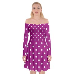 Fuschia Polka Dot Off Shoulder Skater Dress by retrotoomoderndesigns