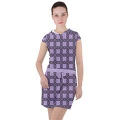 Grid Of Elegance  Drawstring Hooded Dress by TimelessFashion