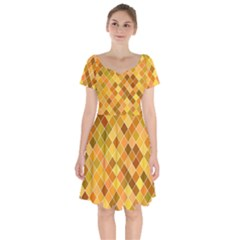 Square Pattern Diagonal Short Sleeve Bardot Dress