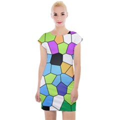 Stained Glass Colourful Pattern Cap Sleeve Bodycon Dress by Mariart