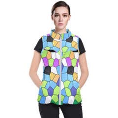 Stained Glass Colourful Pattern Women s Puffer Vest by Mariart