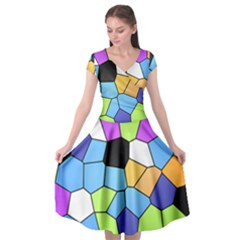 Stained Glass Colourful Pattern Cap Sleeve Wrap Front Dress by Mariart