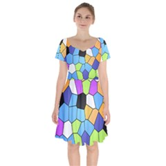 Stained Glass Colourful Pattern Short Sleeve Bardot Dress by Mariart