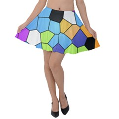 Stained Glass Colourful Pattern Velvet Skater Skirt by Mariart