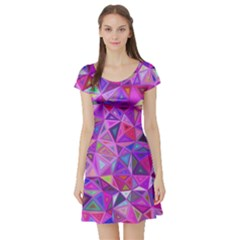 Pink Triangle Background Abstract Short Sleeve Skater Dress