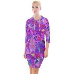 Pink Triangle Background Abstract Quarter Sleeve Hood Bodycon Dress by Mariart