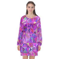 Pink Triangle Background Abstract Long Sleeve Chiffon Shift Dress