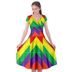 Vibrant Color Pattern Cap Sleeve Wrap Front Dress by Jojostore