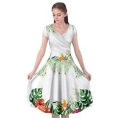 Watercolor Tropical Bottle Border Cap Sleeve Wrap Front Dress