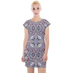 Triangle Pattern Kaleidoscope Cap Sleeve Bodycon Dress by AnjaniArt