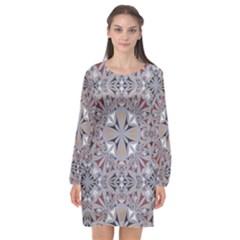 Triangle Pattern Kaleidoscope Long Sleeve Chiffon Shift Dress