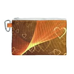 Valentine Heart Love Gold Canvas Cosmetic Bag (large) by AnjaniArt