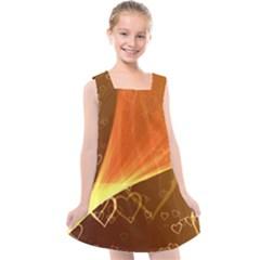 Valentine Heart Love Gold Kids  Cross Back Dress by AnjaniArt