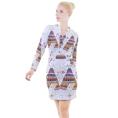 Triangle Tent Button Long Sleeve Dress