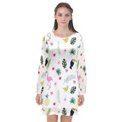 Tropical Vector Elements Peacock Long Sleeve Chiffon Shift Dress  by Alisyart