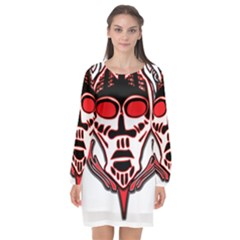 Visual Arts Skull Long Sleeve Chiffon Shift Dress