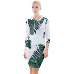 Watercolor Dark Green Banana Leaf Quarter Sleeve Hood Bodycon Dress