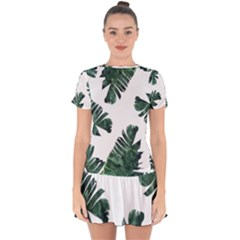 Watercolor Dark Green Banana Leaf Drop Hem Mini Chiffon Dress