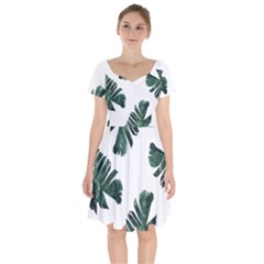 Watercolor Dark Green Banana Leaf Short Sleeve Bardot Dress