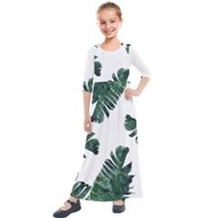 Watercolor Dark Green Banana Leaf Kids  Quarter Sleeve Maxi Dress by Alisyart