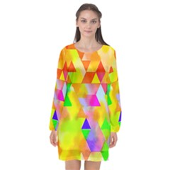 Watercolor Paint Blend Long Sleeve Chiffon Shift Dress  by Alisyart