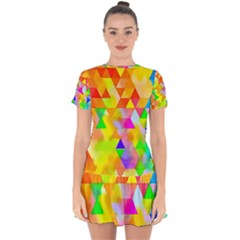 Watercolor Paint Blend Drop Hem Mini Chiffon Dress by Alisyart