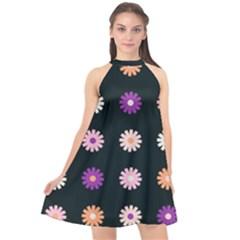 Flower Background Wallpaper Modern Halter Neckline Chiffon Dress  by Jojostore