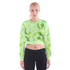 Floral Decoration Flowers Green Cropped Sweatshirt by Jojostore