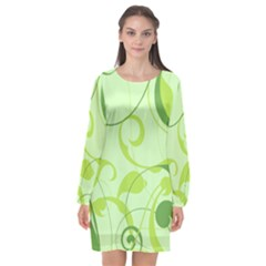 Floral Decoration Flowers Green Long Sleeve Chiffon Shift Dress  by Jojostore